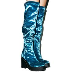 Zodiac Emi Velvet Boots ($68) ❤ liked on Polyvore featuring shoes, boots, velvet boots, high heel platform boots, blue tall boots, platform boots and blue shoes