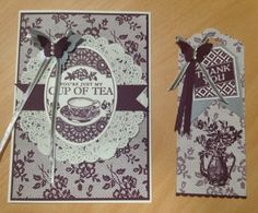 I Love Lace - Blackberry Bliss, and this time I changed over to Tea Party Stamp Set and made a card and matching gift tag with some Brushed Silver Card stock and silver ribbon accents.