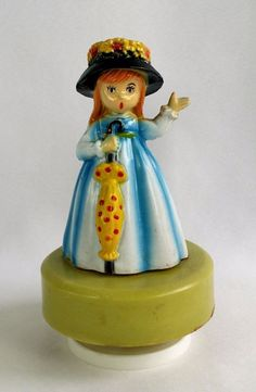 Vintage  #RedHaired Girl w Umbrella #MusicBox #Raindrops Keep Falling