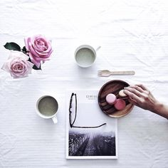 Freshly cut roses from mum's garden/matcha latte with raw almond milk from…