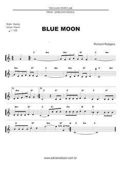Alto Sax Sheet Music, Richard Rodgers, Lyrics And Chords, Easy Piano, Music Lessons, Music Education, Blue Moon, Music Notes, Music Is Life