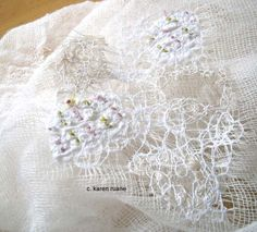 making lace with scrim and scraps