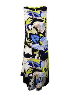Vince Camuto Women's Colorblocked Floral Hi-Lo Dress