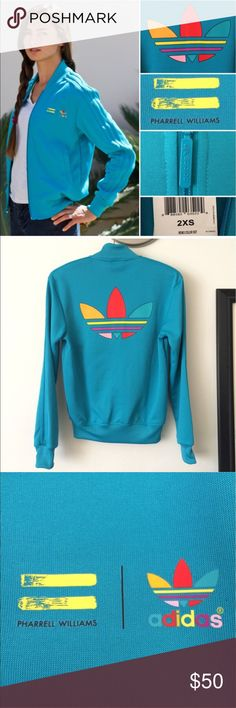 """Track jacket Adidas x Pharrell Williams The pic show actual color teal. Limited edition. Not actual size since it's a unisex jacket. Fits like a small to medium for women. Measured 18"""" across chest and 24"""" length. It is rare and part of Pharrel's mono collaboration adidas Jackets & Coats"""