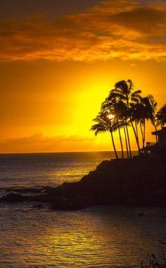 Sunset at Poipu in Kauai, Hawaii