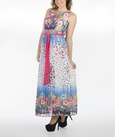Another great find on #zulily! Blue & Pink Floral Belted Maxi Dress - Women #zulilyfinds