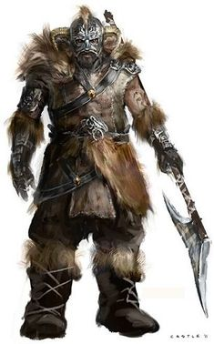 An Uthgardt barbarian.  At least he's more sensibly dressed than Conan.