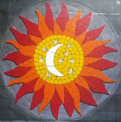 Sol em Mosaico /Sun in Mosaic Stained Glass Designs, Mosaic Designs, Mosaic Patterns, Tile Crafts, Mosaic Crafts, Mosaic Glass, Glass Art, Mosaic Art Projects, Mosaic Madness