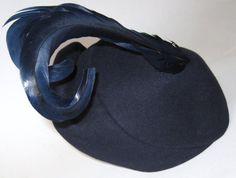 Vintage 1930s NAVY BLUE Velvet & Wool Tilt by CovetedCastoffs, $55.00