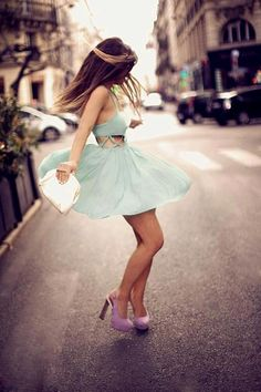 Adorable mint green dress! So cute! and Pairing it with those light purple shoes OHMYGOSHH It's Perfection!!!