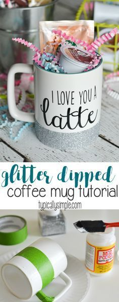 With a few basic craft supplies and this simple tutorial make a glitter dipped coffee mug perfect to keep for yourself or give as a gift with a few k cup