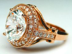 Pink Gold Engagement Ring - Oval Diamond Legacy Style Engagement Ring  - ES126RG