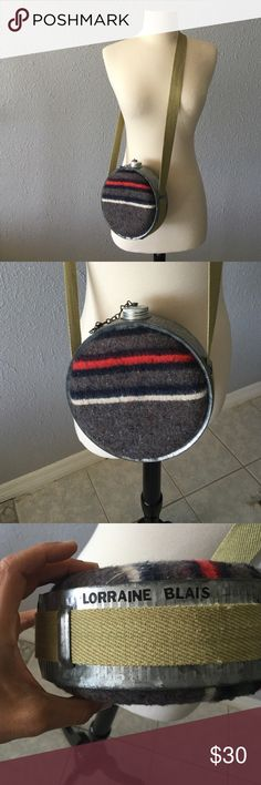Spotted while shopping on Poshmark: Wool Striped Vintage Canister! #poshmark #fashion #shopping #style #Vintage #Handbags