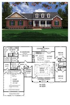 Colonial Style COOL House Plan ID: chp-19129 | Total Living Area: 1751 sq. ft., 3 bedrooms & 2 bathrooms. This home features a beautiful classic traditional style with an European touch. The trayed ceiling in the great room makes the home feel larger than it actually is. The open floorplan includes a split-bedroom layout and features the much-requested gas logs or conventional fireplace. #colonialstyle #houseplan