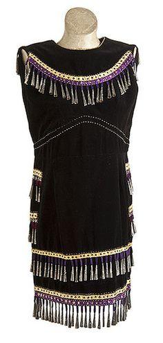 Sleeveless velvet jingle dress made by Mary Bigwind of the White Earth Indian Reservation in northwestern Minnesota for her granddaughter, Madeline Boswell.