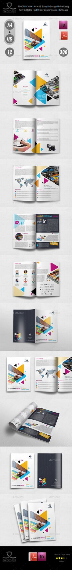 Print Shop Brochure Design Template - 12 Pages - Brochures Print Templates InDesign InDD. Download here: https://graphicriver.net/item/print-shop-brochure-template-12-pages/19300456?ref=yinkira