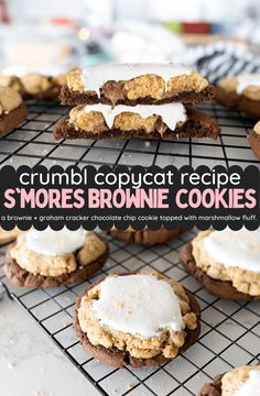 Brownie Cookies, Cookie Desserts, Yummy Cookies, Chip Cookies, Just Desserts, Cookies Et Biscuits, Delicious Desserts, Chocolate Chip Cookie Brownies, Smores Cookies