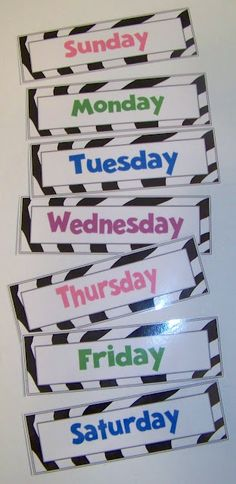 Doodle Bugs Teaching {first grade rocks!}: Days of the Week & Months of the Year Using these for labeling Sophie's outfits for the week. Going to tape them to the bottom of the closet where she can get them herself. Classroom Displays, Classroom Themes, School Classroom, School Fun, Classroom Organization, School Days, Abc School, Classroom Labels, School Stuff