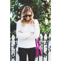 Fluffy as the snow, and a touch of pink! Blogger Luisa Accorsi. #winter #fashion #brazilianness www.brazilianness.com