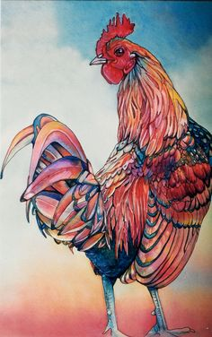 Art of Jeannie Vodden - Rooster Watercolor Animals, Watercolor And Ink, Watercolor Paintings, Watercolors, Art Paintings, Rooster Painting, Rooster Art, Rooster Stencil, Chicken Painting