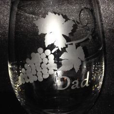 Special stemless wineglass for someone's special Dad! Etsy Store, Snow Globes, Wine Glass, Crafty, Unique Jewelry, Tableware, Handmade Gifts, Vintage, Kid Craft Gifts
