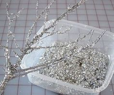 Beautiful Winter #Christmas #decoration DIY Ideas.  Follow the pin for links to projects shown. I want to do the glitter branches and make a great big centerpiece for our table! Could also do for #halloween in black, gold, purple, and silver.