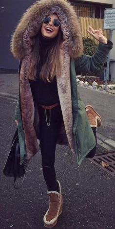 #winter #fashion /  Army Coat / Brown Boots / Black Pants