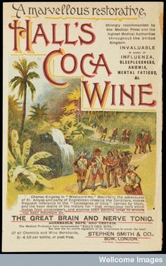 "Advert for Hall's Coca Wine.  ""The great brain and nerve tonic.""    Showing a picture of St Amyas and a party of Englishmen crossing the Cordillera."