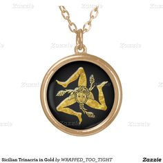 Sicilian Trinacria in Gold Round Pendant Necklace