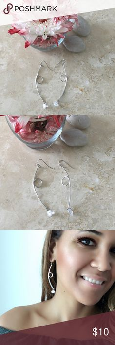 """💕CZ LOOPED BAR PENDANT SILVER EARRINGS CZ LOOPED BAR PENDANT SILVER EARRINGS  CUBIC ZIRCONIA LOOPED BAR PENDANT SILVER EARRINGS      Drop Approx. 3.25""""     Lead/Nickel compliant     Fish hook  FREE WITH PURCHASE: Cute little organza drawstring pouch for storage or for gifting ****PRICE FIRM**** 🛍Bundle & Save!! 10% 3+ items  💞No Trades MischkaPu Jewelry Earrings"""