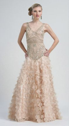 Sue Wong Summer 2012- Champagne Beaded Embellished Drop Waist Petal Chiffon Prom Gown - 0 - 12