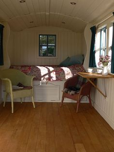 shepherds hut - on the inside