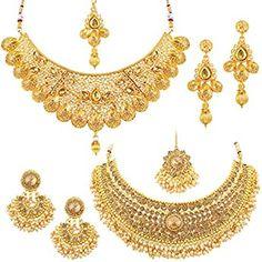 Buy Zaveri Pearls Gold Tone Traditional Temple Choker Necklace Set For Women-ZPFK8983 at Amazon.in Pearl Choker Necklace, Pearl Jewelry, Necklace Set, Diamond Choker, Jewelery, Jewellery Earrings, Indian Jewelry, Bridal Necklace, Diamond Jewelry