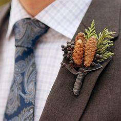 Ashleigh, I warned you I would start pinning wedding stuff! #pinecone boutonniere