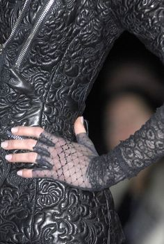 Black Leather and Lace ~ McQueen Paris Fall 2008 Dark Fashion, Fashion Art, High Fashion, Womens Fashion, Fashion Design, Weird Fashion, Fashion Clothes, Alexander Mcqueen, Couture Details