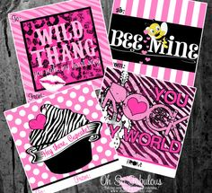 Mini Valentine's Day Cards 4x4  Digital and by OhSoFabulous, $10.00