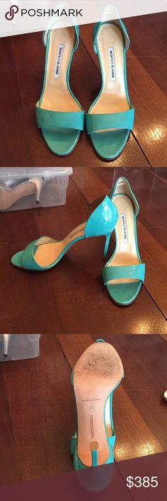 "Aqua MANOLO BLAHNIK patent ""Open Toe"" high heels. Aqua heels *WORN ONCE* no box or dust jacket Manolo Blahnik Shoes Heels"