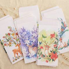 5 unids/lote creativa bosque ciervos envolvente cubierta de papel de tarjetas de felicitación tarjetas postales sobres papelería útiles escolares regalo de sobres