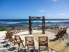 CBG185,Wedding Riviera Maya Arch Mayan Beach ceremony, Twigs posts and branches mixed with white floral / arco decoración boda en la playa con flores blancas, petate aisle