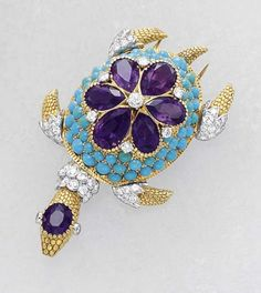 PHILLIPS : CH060108, Cartier, A Diamond Amethyst and Turquoise 'Turtle' Clip