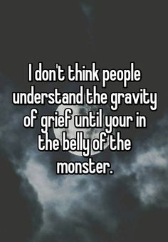 I don't think people understand the gravity of grief until your in the belly of the monster.