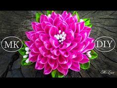 Брошь с пышным цветком, МК / DIY Brooch with lush kanzashi flower - YouTube