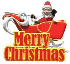 Ho Ho Ho Merry Christmas to all and to all a good night, animated gif of Santa Clause in his sleigh waving to you