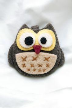 """Gufo Gù"" Portachiavi *Le Chips di Feltro * - ""Owl"" Felt Pets Keychain"