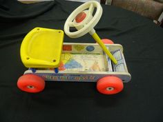 Vintage Fisher Price Creative Coaster Ride-On Pull Toy Wagon  #FisherPrice
