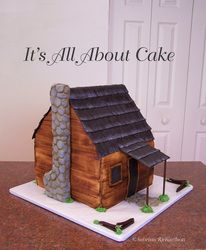 Side view of Hunting Cabin Cake
