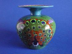 Wileman Intarsio 'Peacock' Vase by Frederick Rhead Pottery Art, Peacock, Art Nouveau, Decals, Enamel, Colours, Vase, Ceramics, Wood