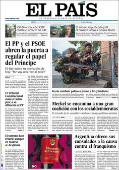 Los Titulares y Portadas de Noticias Destacadas Españolas del 24 de Septiembre de 2013 del Diario El País ¿Que le pareció esta Portada de este Diario Español?
