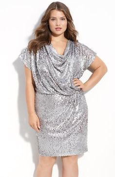 Aidan by Aidan Mattox Drape Neck Sequin Dress