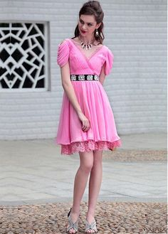 Pink V-neck short Short Party Dresses evening dresses, bridesmaid dresses Lace Evening Dresses, Dress Lace, Chiffon, Special Occasion Dresses, Short Sleeve Dresses, Bridesmaid Dresses, V Neck, Stylish, Red